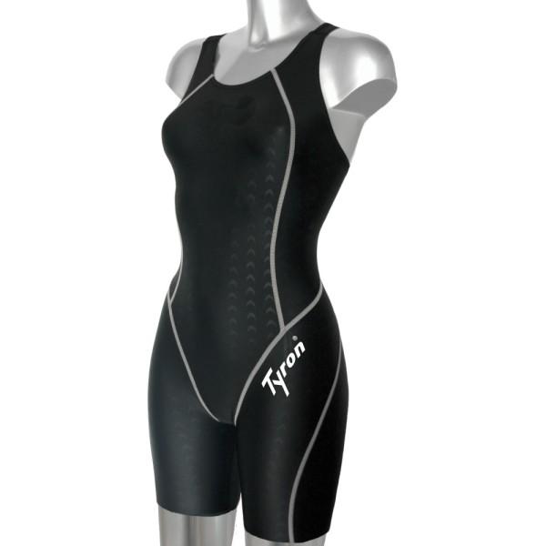 TYRON Speed Line Schwimmanzug Full-Knee (schwarz / weiße Naht)