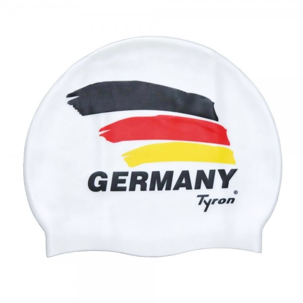 """TYRON Soft-Touch Silkon-Badekappe """"Germany"""" (weiß)"""